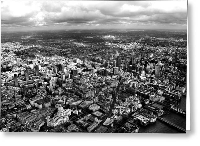 Shards Greeting Cards - Aerial View of London 2 Greeting Card by Mark Rogan