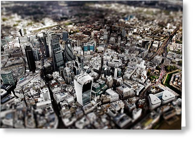 City Buildings Greeting Cards - Aerial view of London 3 Greeting Card by Mark Rogan
