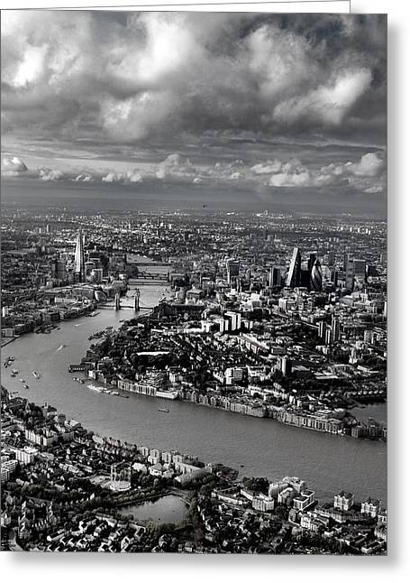 Aerial View Of London 4 Greeting Card by Mark Rogan