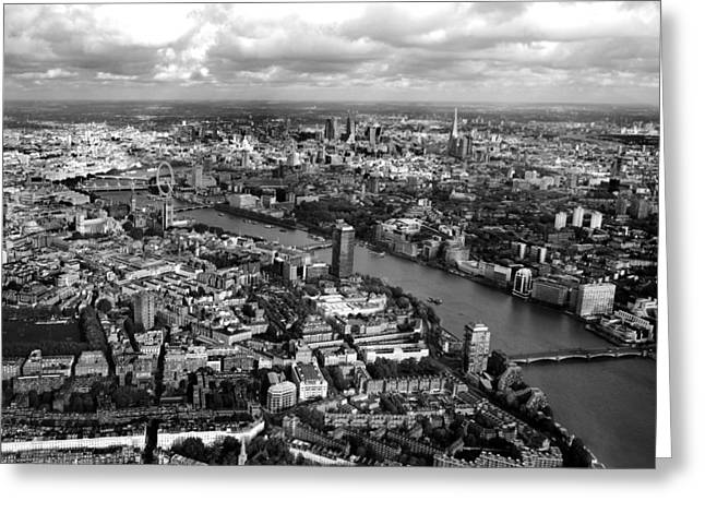 White Photographs Greeting Cards - Aerial view of London Greeting Card by Mark Rogan