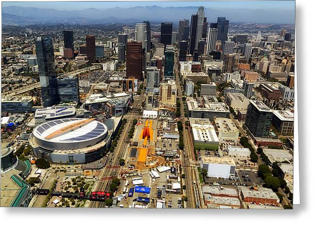 Staples Center Greeting Cards - Aerial View of Los Angeles Greeting Card by Mountain Dreams
