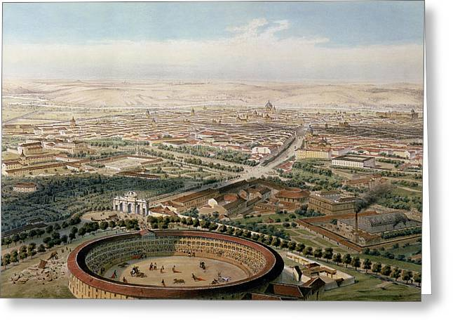 Bullfight Greeting Cards - Aerial View Of Madrid From The Plaza De Toros, 1854 Oil On Canvas Greeting Card by Alfred Guesdon