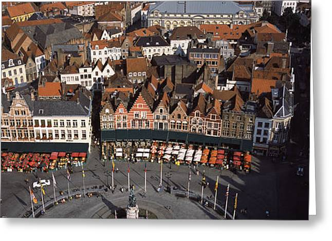 Bruges Greeting Cards - Aerial View Of Marktplatz Greeting Card by Panoramic Images