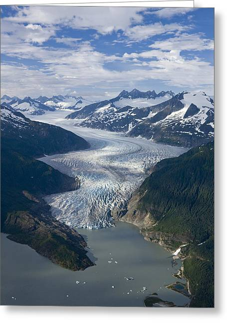 Pristine Coastal Forests Greeting Cards - Aerial View Of Mendenhall Glacier Greeting Card by John Hyde