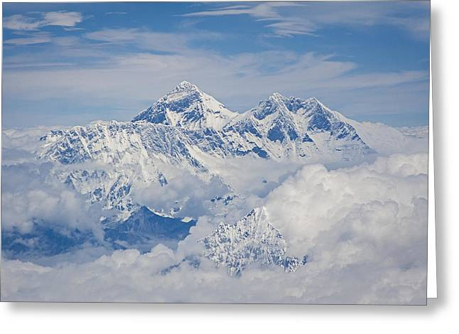 Singular Greeting Cards - Aerial view of Mount Everest Greeting Card by Hitendra SINKAR