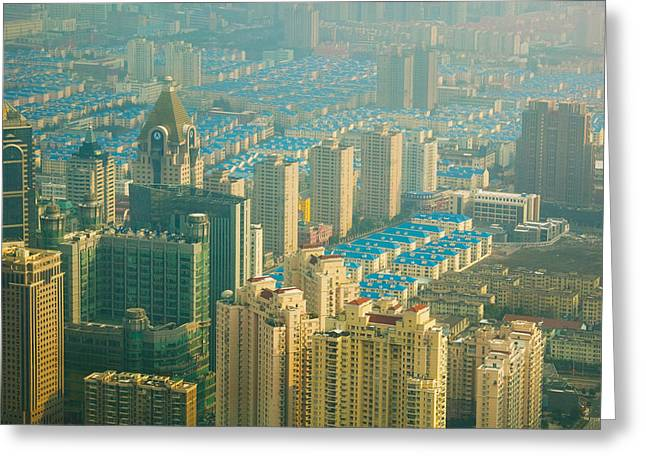 Pudong Greeting Cards - Aerial View Of New Pudong District Greeting Card by Panoramic Images