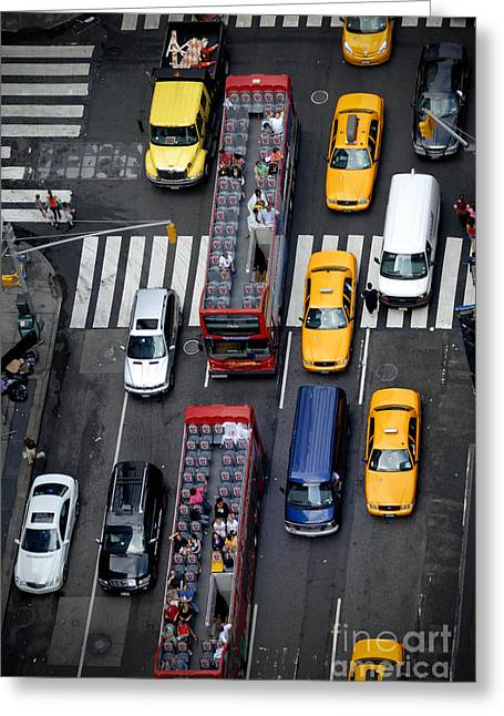 Bus Greeting Cards - Aerial View of New York City Traffic Greeting Card by Amy Cicconi