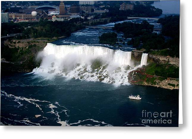 Santuci Greeting Cards - Aerial view of Niagara Falls and river and Maid of the mist Greeting Card by Rose Santuci-Sofranko