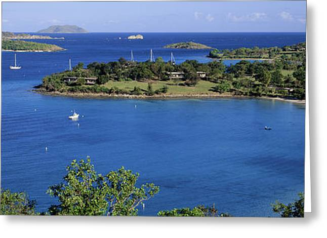 Aerial View Of Sailboats In The Sea Greeting Card by Panoramic Images