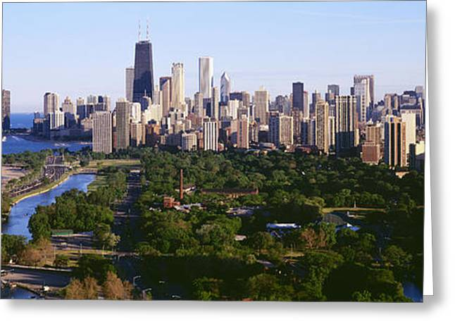 Sprawl Greeting Cards - Aerial View Of Skyline, Chicago Greeting Card by Panoramic Images