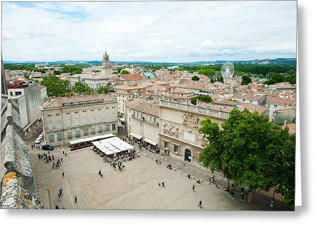 Incidental People Greeting Cards - Aerial View Of Square Named For John Greeting Card by Panoramic Images