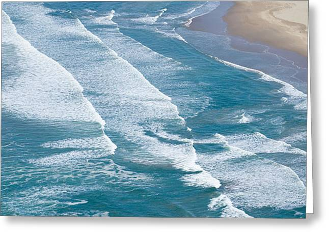 California Ocean Photography Greeting Cards - Aerial View Of Surf On The Beach, Pismo Greeting Card by Panoramic Images