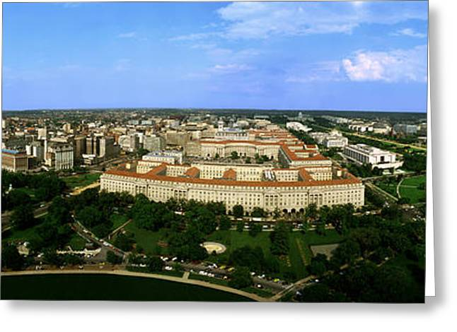 Urban Buildings Greeting Cards - Aerial View Of The City, Washington Dc Greeting Card by Panoramic Images