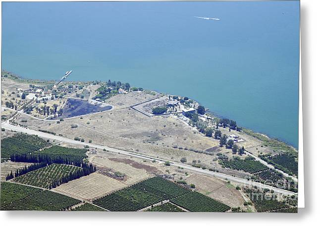 Sea Of Galilee Greeting Cards - Aerial view of the Sea Of Galilee Greeting Card by Shay Levy