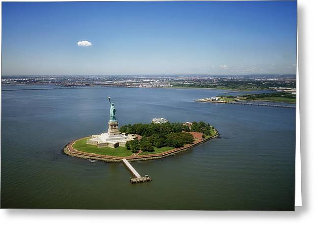 Aerial View Of The Statue Of Liberty Greeting Card by Mountain Dreams