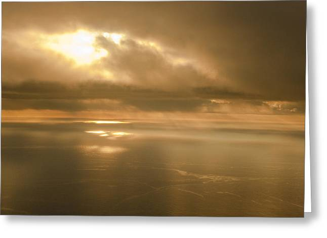 Kodiak Greeting Cards - Aerial View Of The Sunrise Reflecting Greeting Card by Kevin Smith