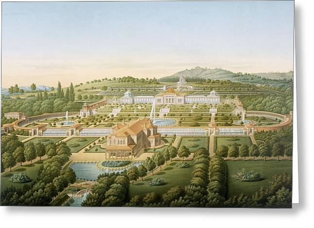 Printed Greeting Cards - Aerial View Of The Villa Of King Greeting Card by German School