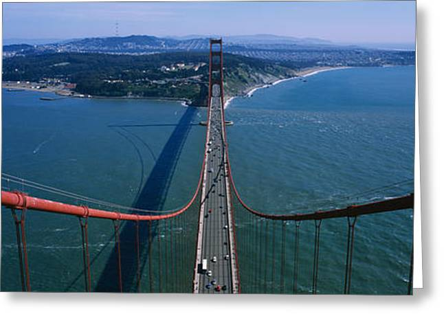 San Francisco Bay Greeting Cards - Aerial View Of Traffic On A Bridge Greeting Card by Panoramic Images