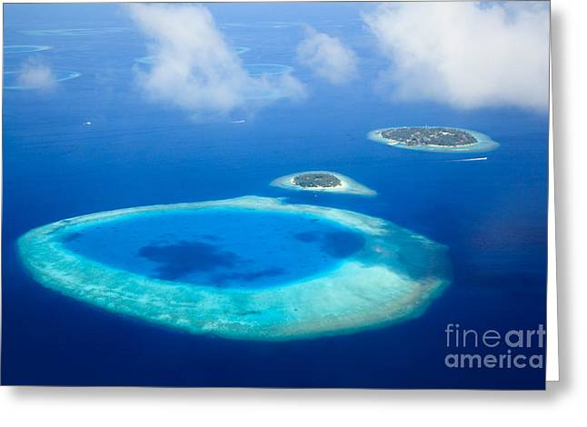 Faro Greeting Cards - Aerial view of tropical island - South Male Atoll - Maldives Greeting Card by Matteo Colombo