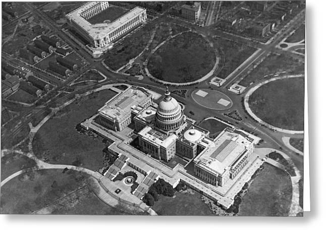 Aerial View Of U.s. Capitol Greeting Card by Underwood Archives