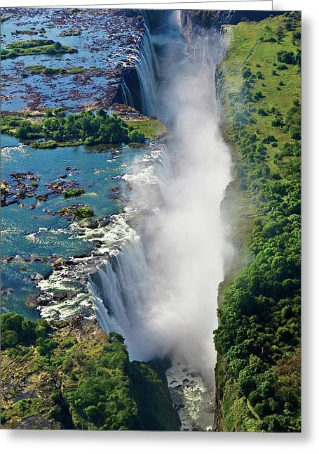 Aerial View Of Victoria Falls Greeting Card by Miva Stock