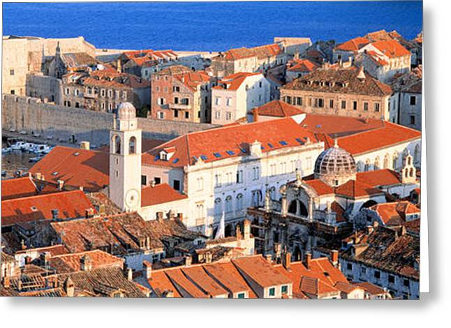 Eastern Europe Greeting Cards - Aerial View, Old Town, Dubrovnik Greeting Card by Panoramic Images