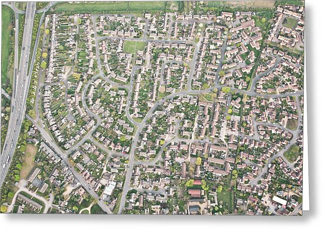 Suburbia Greeting Cards - Aerial view  Greeting Card by Tom Gowanlock