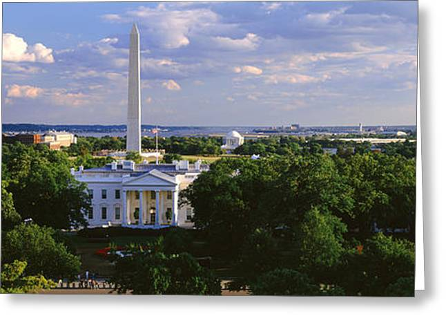 Capitol Greeting Cards - Aerial, White House, Washington Dc Greeting Card by Panoramic Images