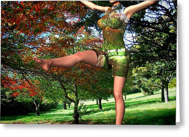 Park Scene Mixed Media Greeting Cards - Aerobics in the Park Greeting Card by Nancy Pauling