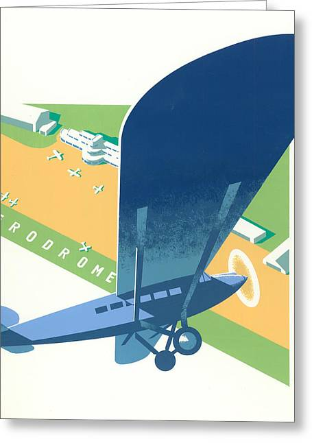 Flying Planes Greeting Cards - Aerodrome Greeting Card by Brian James