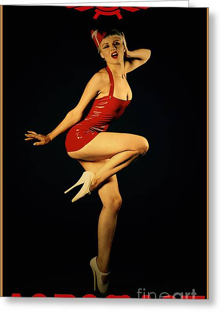 Pin-up Model Greeting Cards - Aeroflot Greeting Card by Cinema Photography