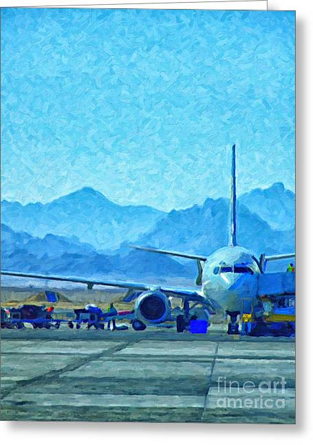 Jetliner Greeting Cards - Aeroplane At Airport Greeting Card by Antony McAulay