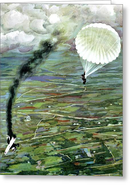 Aeroplane Being Shot Down Greeting Card by Cci Archives