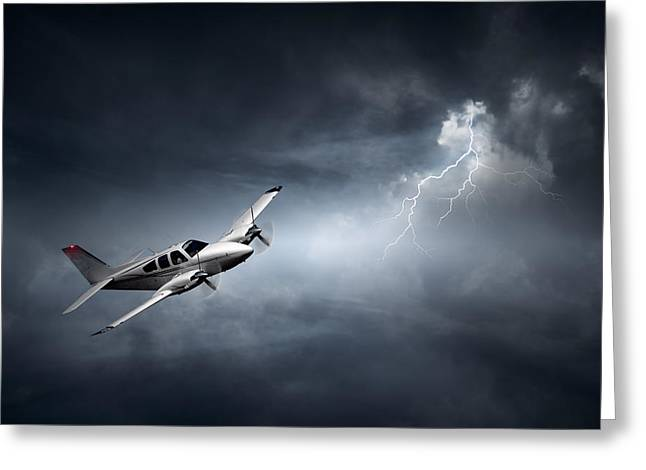 Aeroplane Greeting Cards - Risk - Aeroplane in thunderstorm Greeting Card by Johan Swanepoel