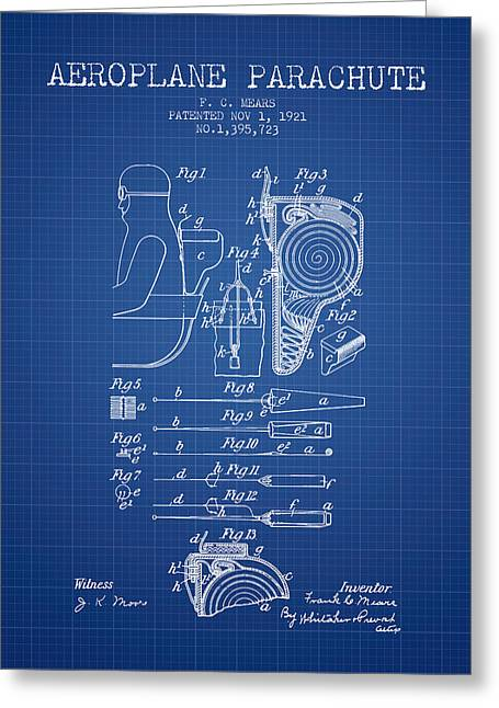 Parachuting Greeting Cards - Aeroplane Parachute patent from 1921 - Blueprint Greeting Card by Aged Pixel