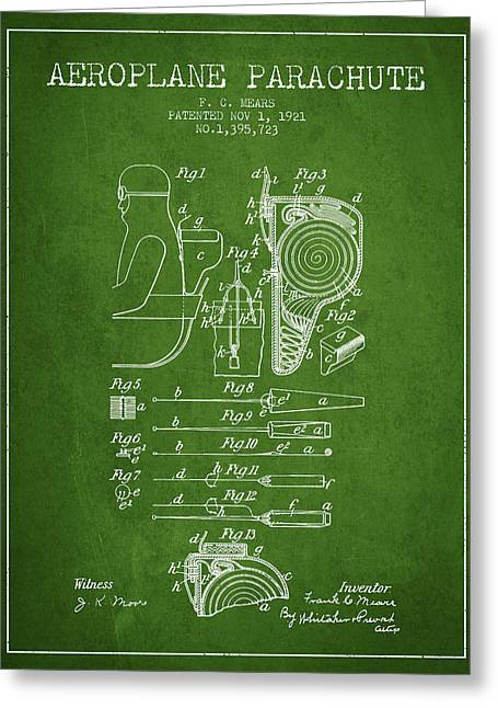 Parachuting Greeting Cards - Aeroplane Parachute patent from 1921 - Green Greeting Card by Aged Pixel