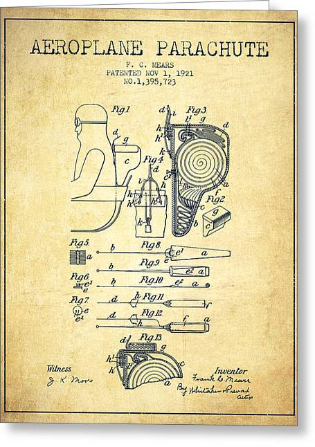 Parachuting Greeting Cards - Aeroplane Parachute patent from 1921 - Vintage Greeting Card by Aged Pixel