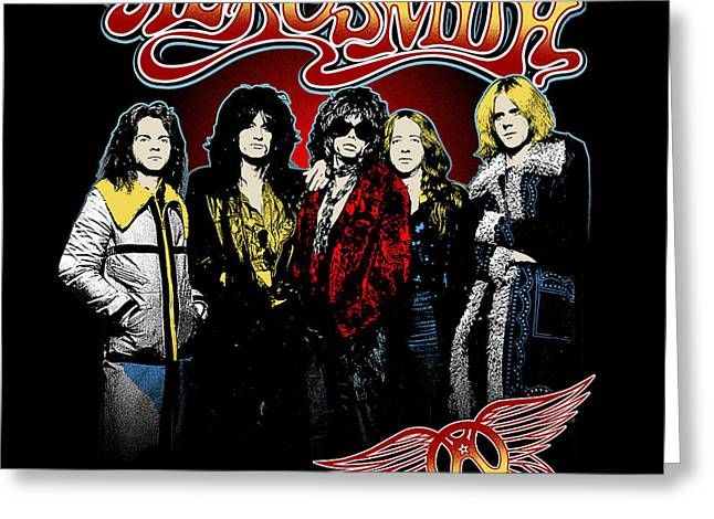 Music Greeting Cards - Aerosmith - 1970s Bad Boys Greeting Card by Epic Rights
