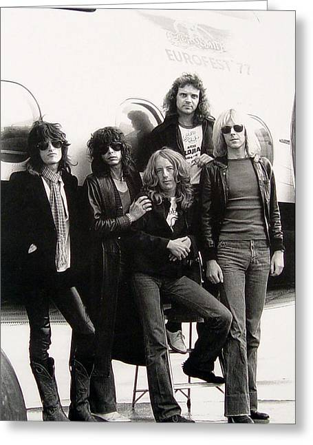 1977 Greeting Cards - Aerosmith - Eurofest Jet 1977 Greeting Card by Epic Rights