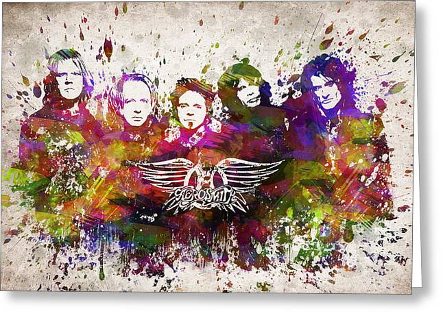 Metal Art Greeting Cards - Aerosmith in Color Greeting Card by Aged Pixel