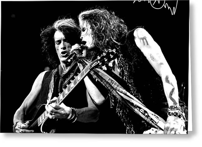 Fame Greeting Cards - Aerosmith - Joe Perry & Steve Tyler Greeting Card by Epic Rights