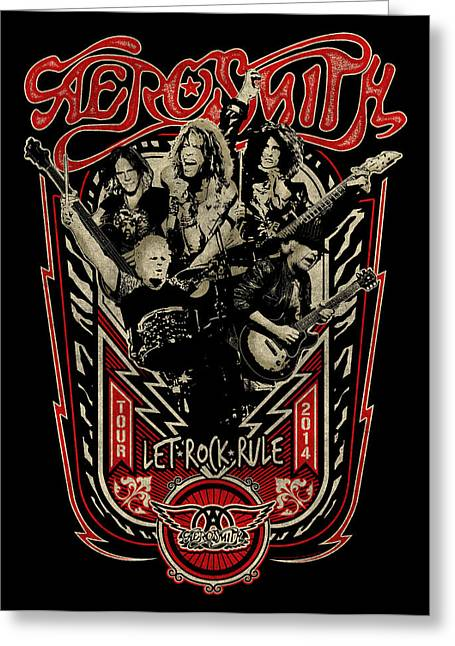 Fame Greeting Cards - Aerosmith - Let Rock Rule World Tour Greeting Card by Epic Rights