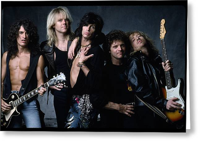 Music Greeting Cards - Aerosmith - Let the Music Do the Talking 1980s Greeting Card by Epic Rights