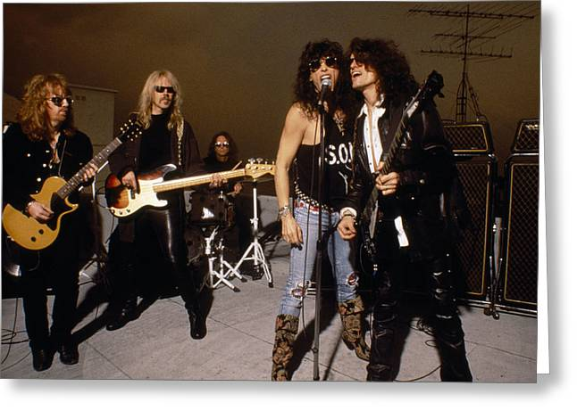 Tom Boy Greeting Cards - Aerosmith - Rooftop Blues 1990s Greeting Card by Epic Rights