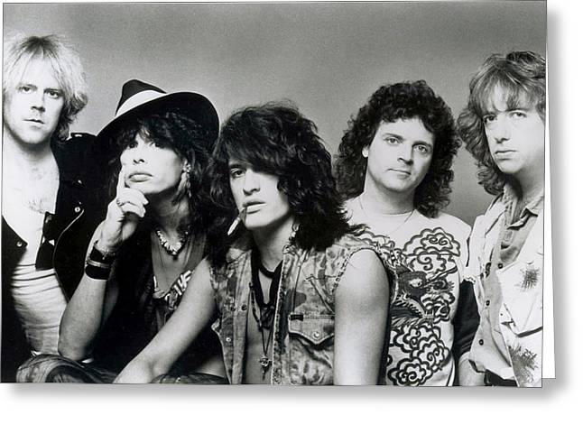Tom Boy Greeting Cards - Aerosmith - What it Takes 1980s Greeting Card by Epic Rights