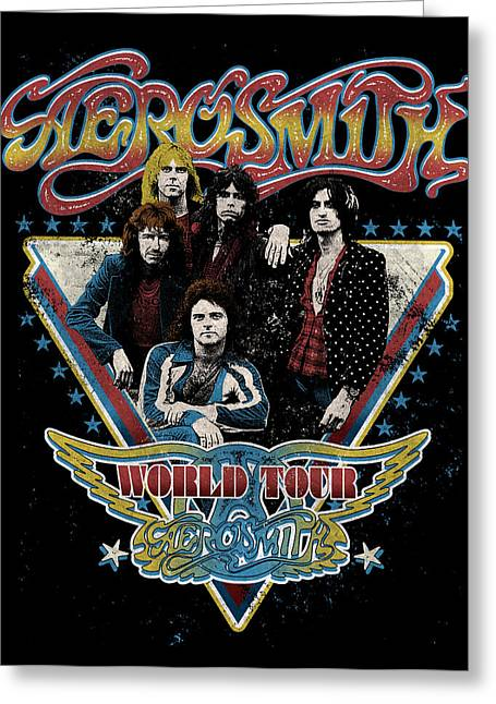 Music Greeting Cards - Aerosmith - World Tour 1977 Greeting Card by Epic Rights