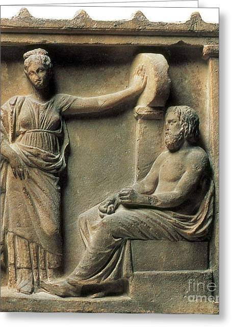 Greek Sculpture Greeting Cards - Aesculapius And Hygeia Greeting Card by Science Source