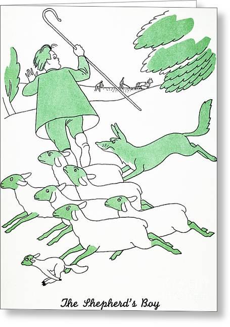 Shepherd Staff Greeting Cards - Aesop: Shepherds Boy Greeting Card by Granger