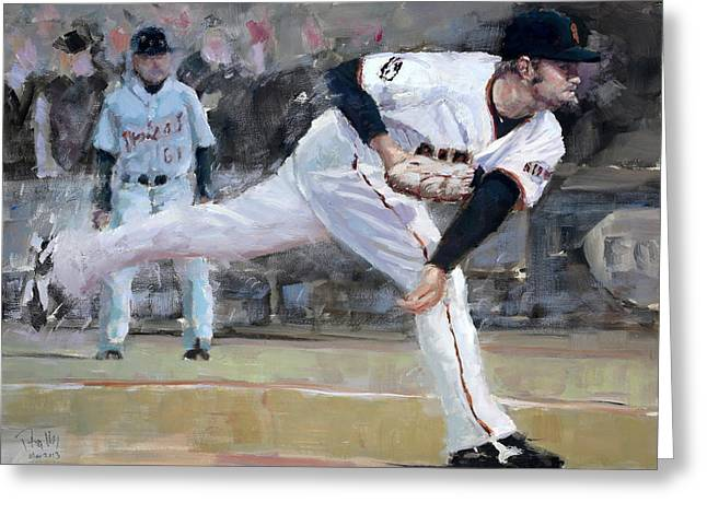 Baseball Paintings Greeting Cards - Affeldt Delivery Greeting Card by Darren Kerr