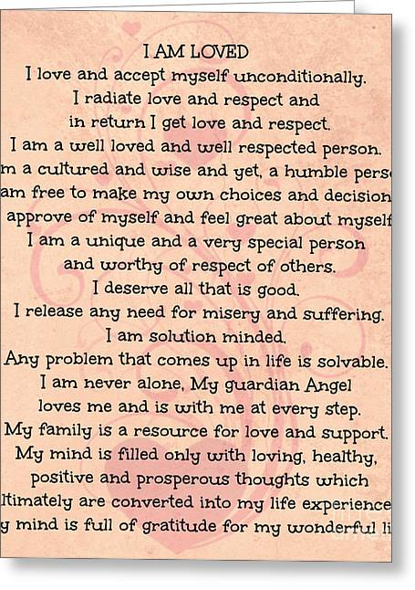 Loving Self Greeting Cards - Affirmations of Love Greeting Card by Mindy Bench